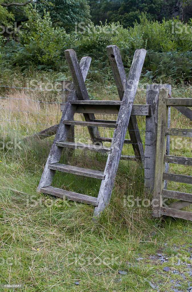 Latter Stile, style, steps up and over fence stock photo