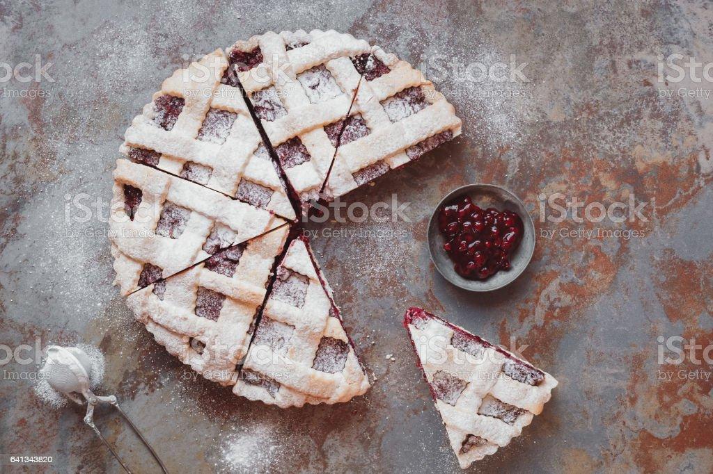 Lattice topped cranberry pie stock photo