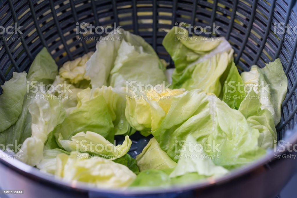 Lattuce in a salad drier stock photo