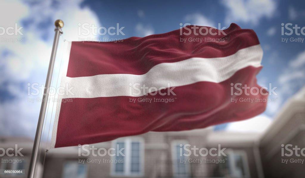 Latvia Flag 3D Rendering on Blue Sky Building Background stock photo