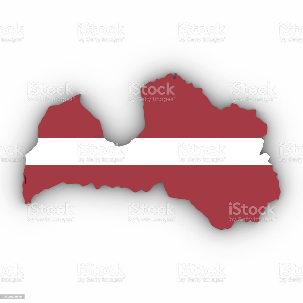 Latvia Map Outline With Latvian Flag On White With Shadows D - Latvia map outline