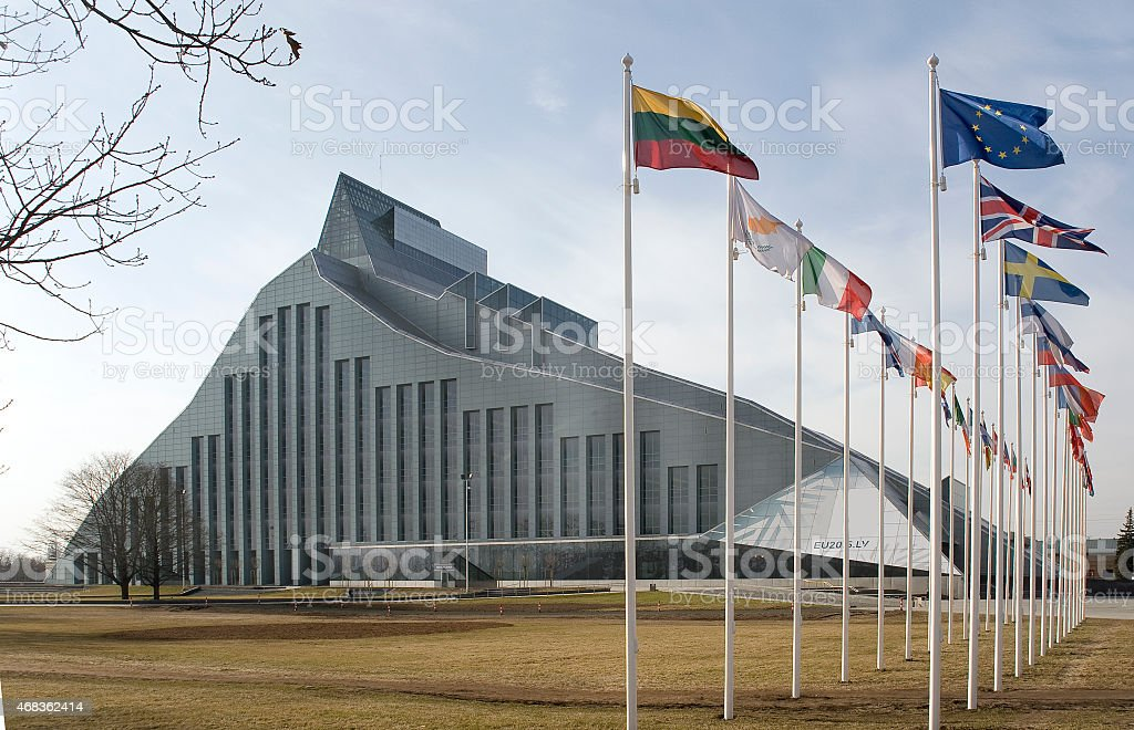 Latvia,  Riga. The building of National library stock photo