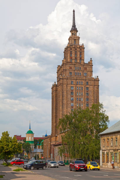 Latvian Academy of Sciences in Riga stock photo