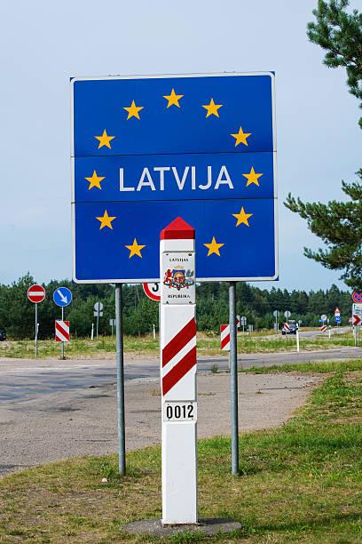 Latvian Border Post and Sign stock photo