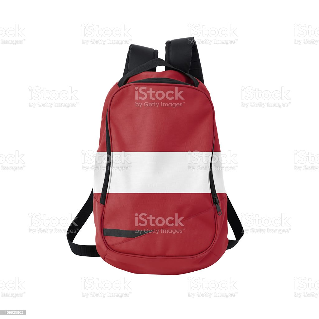 Latvian flag backpack isolated on white w/ path stock photo