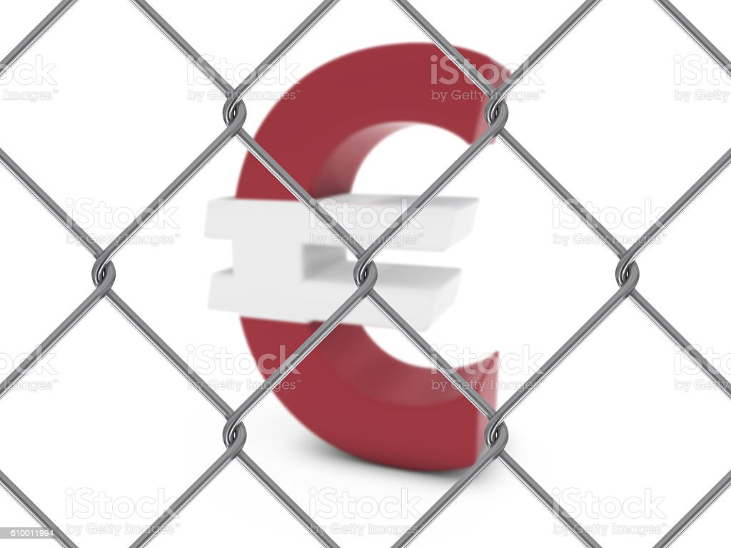 Latvian Flag Euro Symbol Behind Chain Link Fence stock photo