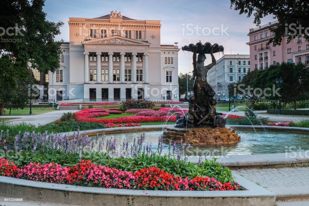 Latvian National Academic Opera and Ballet Theatre house in Riga stock photo