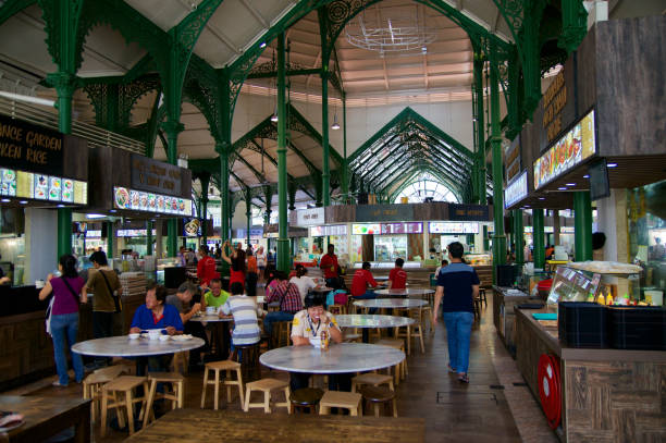 Lau Pa Sat Festival Market was formerly known as Telok Ayer  - now it is a popular catering place and  national historic landma stock photo