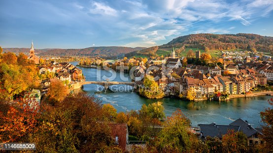 Laufenburg Old town on Rhine river is a popular day trip destination around Basel, Switzerland, on the swiss german border