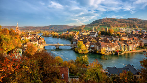 laufenburg old town on rhine river, switzerland - germany border - german culture stock pictures, royalty-free photos & images
