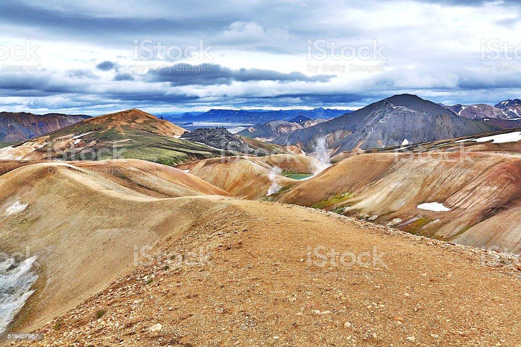 Laugarvegur Trekking Iceland stock photo