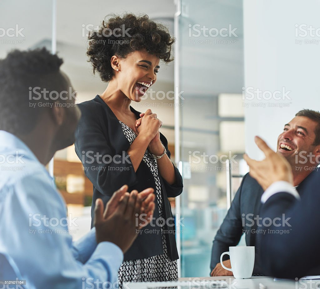 Laugh out loud moments at work stock photo