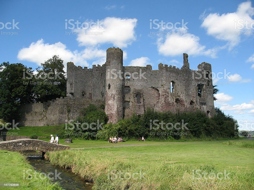 Laugharne Castle and sky stock photo