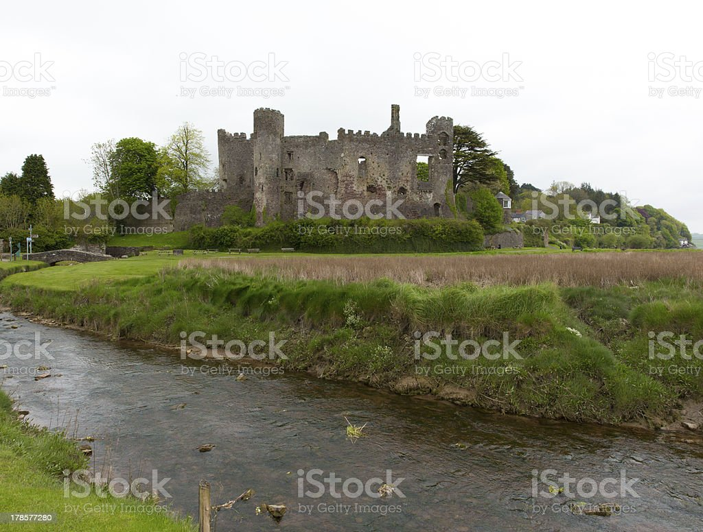 Laugharne Castle Carmarthenshire Wales UK royalty-free stock photo