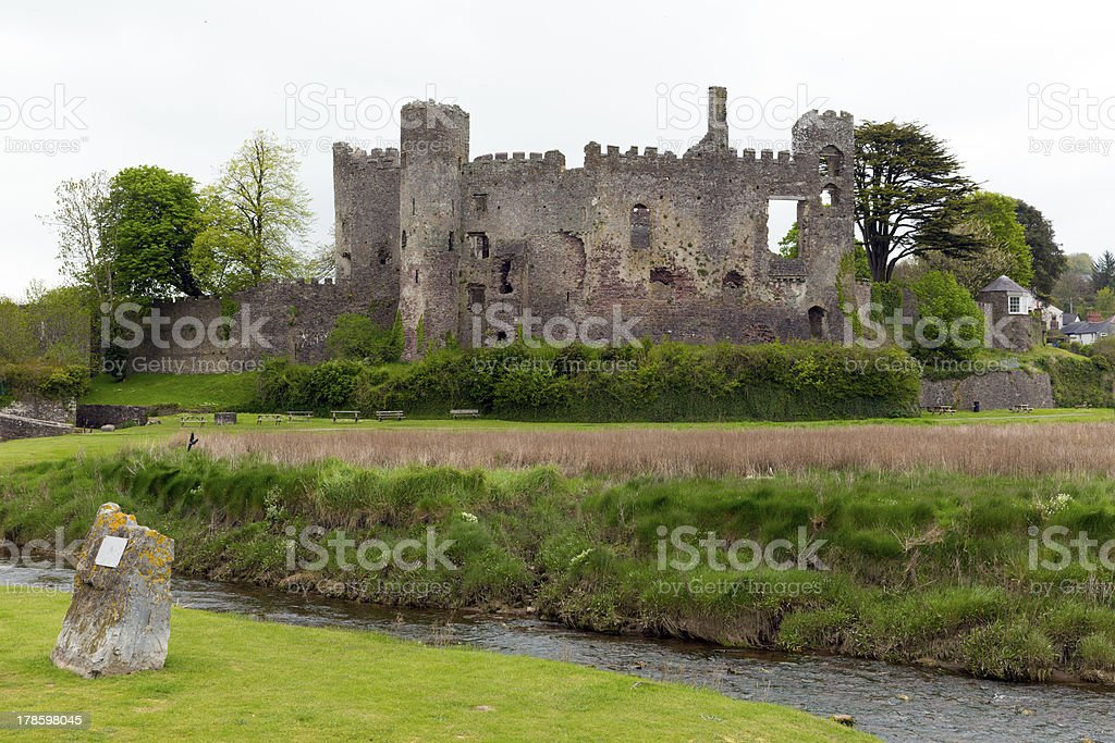 Laugharne Castle Wales stock photo