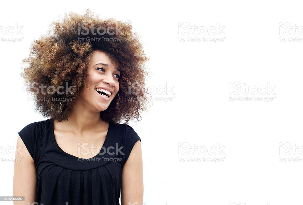 Laughing african american woman stock photo