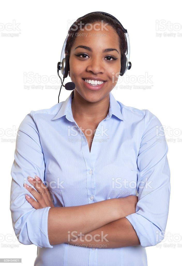 Lachen afrikanische Telefon-Betreiber mit headset Blick in die Kamera - Lizenzfrei Afrika Stock-Foto