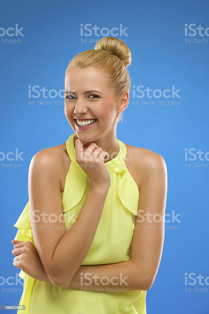 Laughing and excited woman looking at camera. royalty-free stock photo