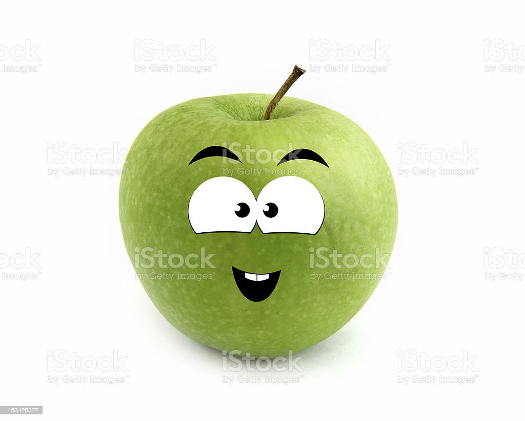 Laughing apple stock photo