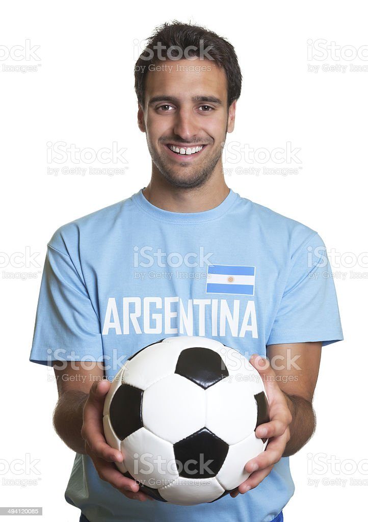 Rindo homem com de futebol argentino - foto de acervo