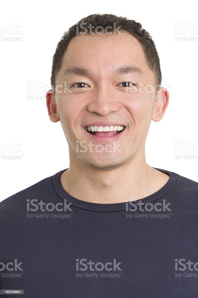 Laughing Asian Man Close-up Portrait royalty-free stock photo