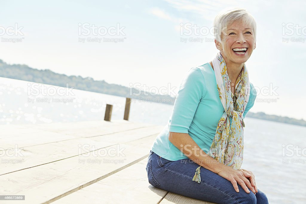 Laughing away stock photo