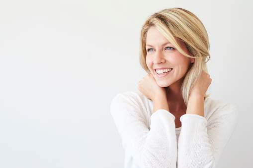 istock Laughing blond babe 673361134