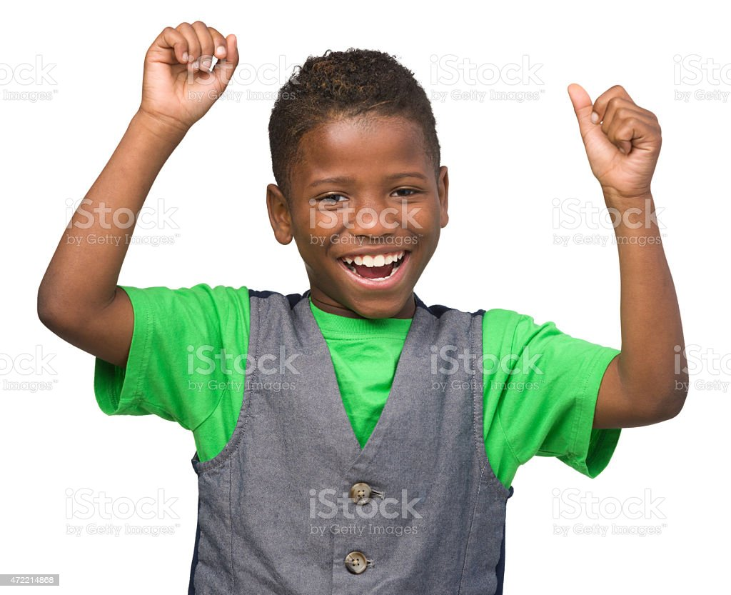 Laughing Boy Cheering stock photo