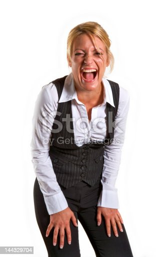 Happy laughing business woman