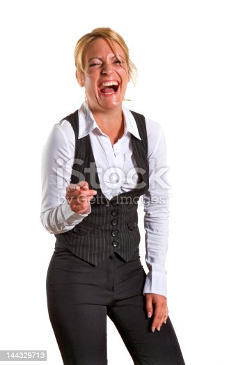 Happy laughing business woman pointing her finger
