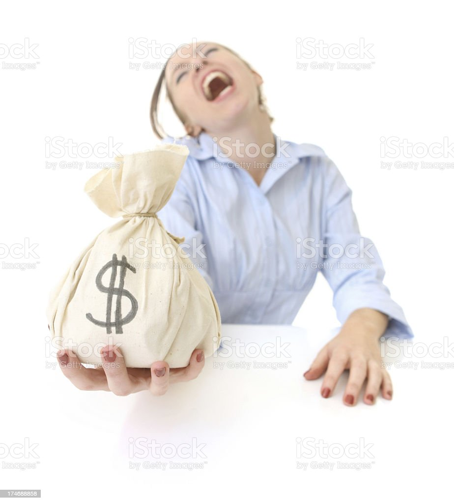 Laughing business woman with money bag royalty-free stock photo