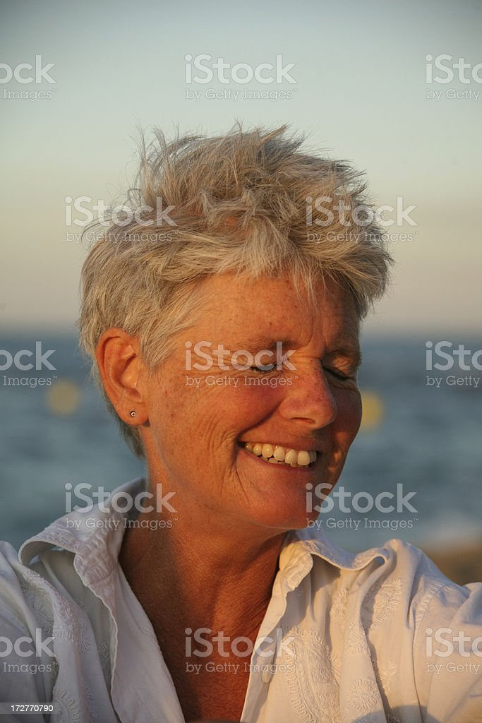 laughing by the sea royalty-free stock photo