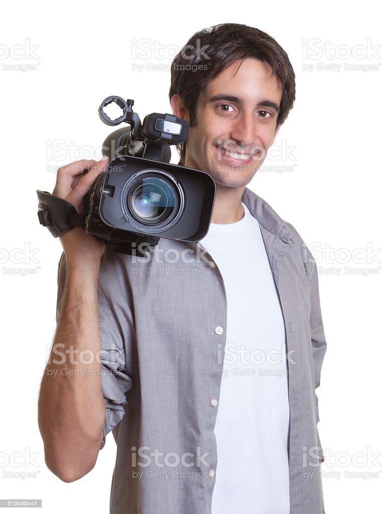 Laughing cameraman royalty-free stock photo