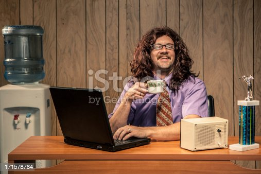618210072 istock photo Laughing Cheerful Office Worker Computer IT Tech Man 171578764