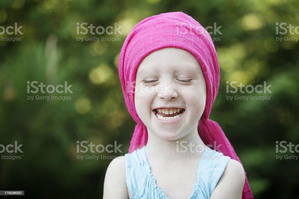 Laughing Chemo Child stock photo