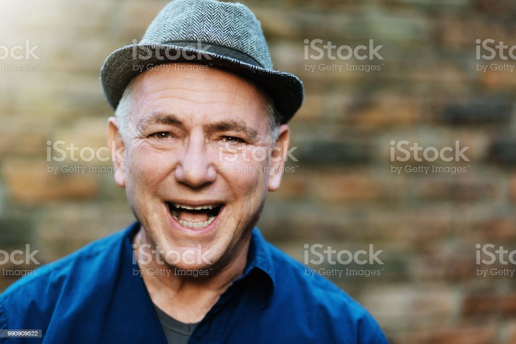 91f242d030fd5 Laughing Clownish Old Man In Fedora Hat Stock Photo   More Pictures ...