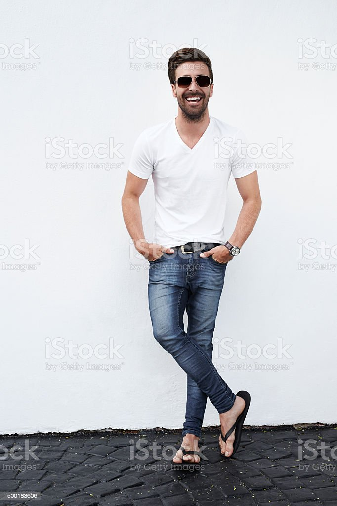 Laughing confident man stock photo