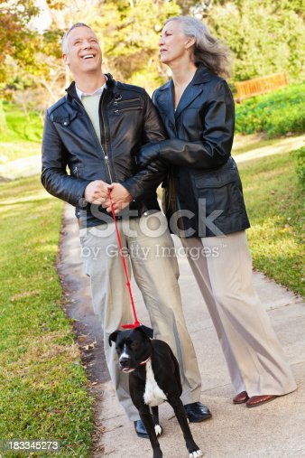874818944 istock photo Laughing Couple at Park With Their Dog 183345273