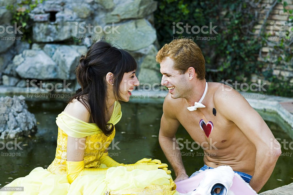 laughing couple fairy tale frog prince stock photo
