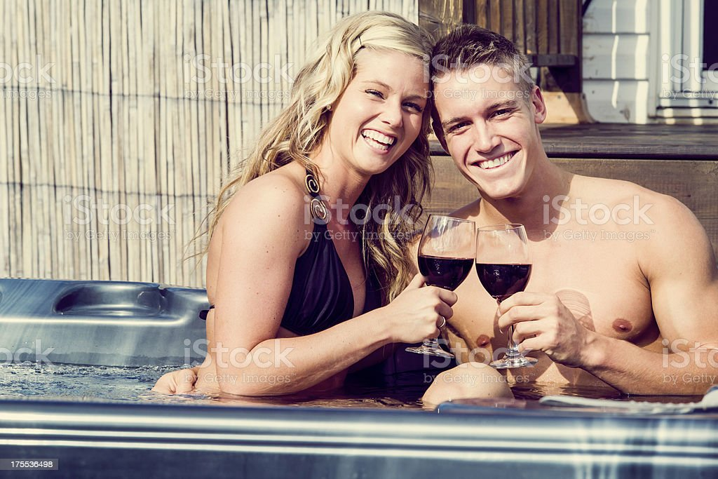 laughing couple in a spa stock photo
