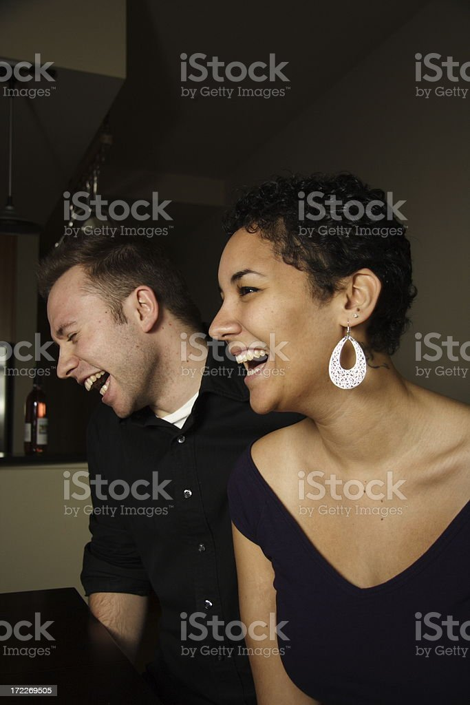 laughing couple (side view) royalty-free stock photo