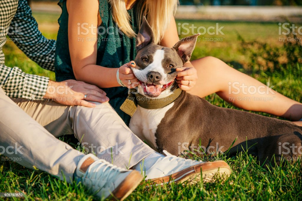 Happy young couple and a pet
