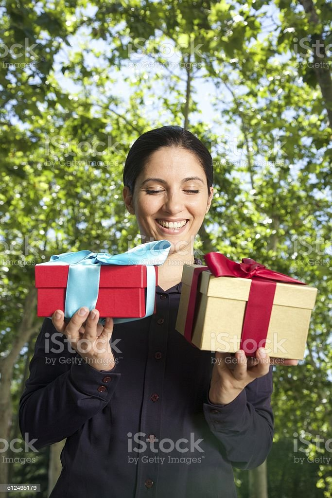 laughing double gift woman stock photo