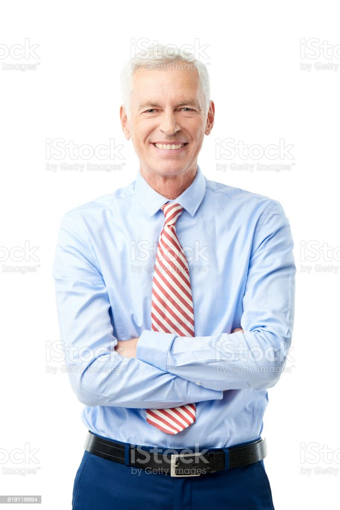Laughing elderly man portrait stock photo