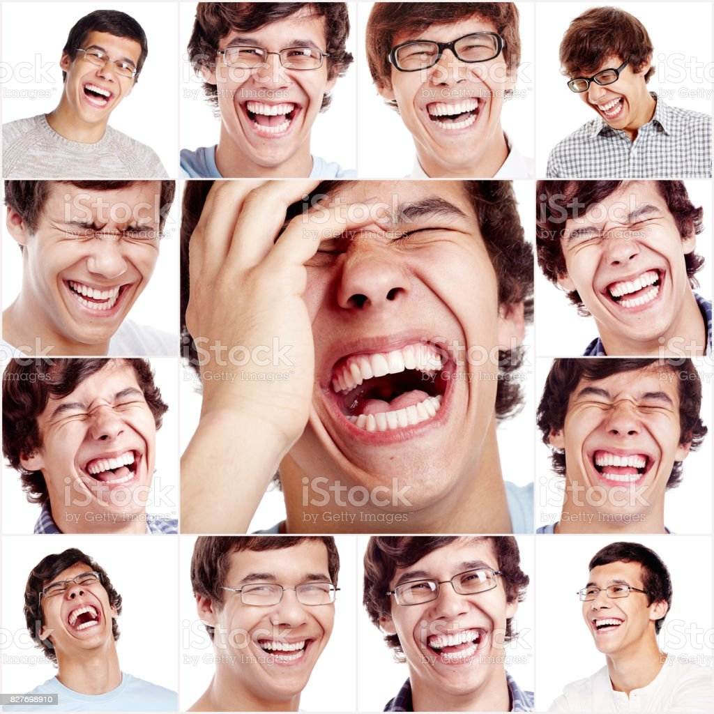 Laughing face collage stock photo