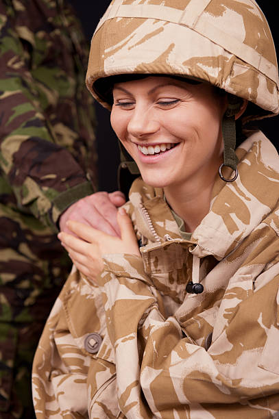 laughing female soldier - uk military stock photos and pictures