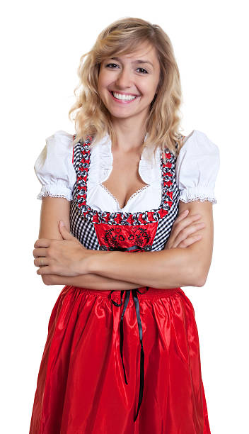 laughing deutschen frau in einer traditionellen bayerischen dirndl - moderne dirndl stock-fotos und bilder