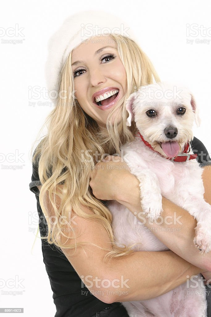 Laughing girl with puppy dog royalty-free stock photo