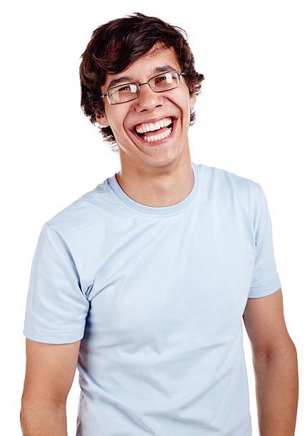 lachen mann - geek t shirts stock-fotos und bilder