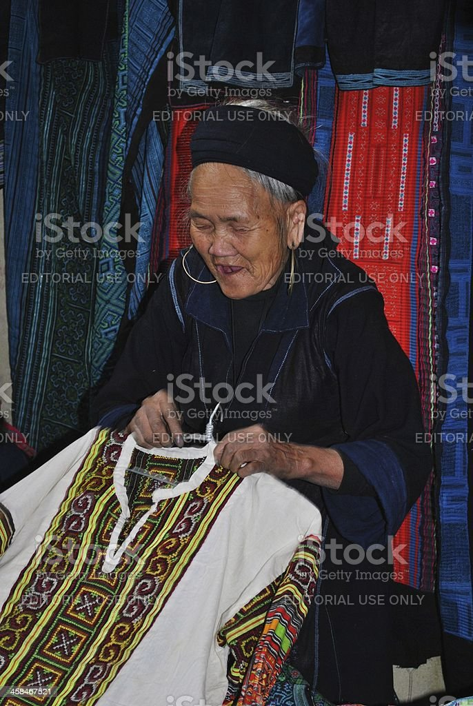 Laughing Hmong Hill tribe Woman in Market, Sapa royalty-free stock photo